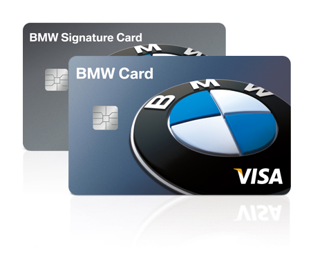 The BMW Family of Cards. Two Visa® BMW credit cards photographed in studio on a white background. A blue BMW Card stands in the foreground with a grey BMW Signature Card behind it.